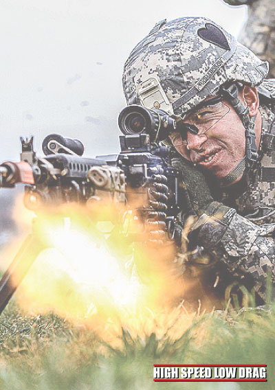 high speed low drag soldier firing
