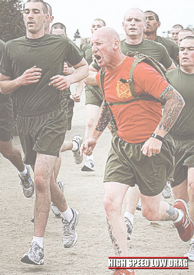 high speed low drag soldier jogging